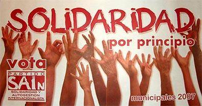 Presentación en Pamplona de las candidaturas del Partido Solidaridad y Autogestión Internacionalista (SAIN).