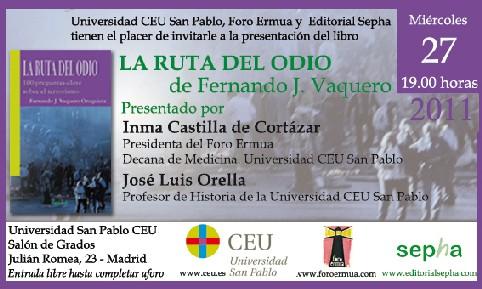 Presentación en Madrid de La ruta del odio. 100 respuestas claves sobre el terrorismo