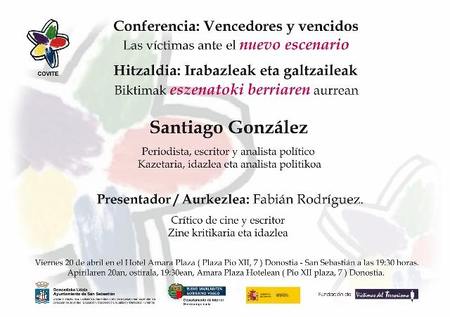 """El Colectivo de Víctimas del Terrorismo en el País Vasco """"COVITE"""" organiza la conferencia: """"Vencedores y vencidos. Las víctimas ante el nuevo escenario"""""""
